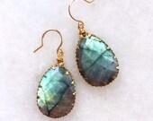 Labradorite Teardrop Earrings, 14Kt Gold Filled,