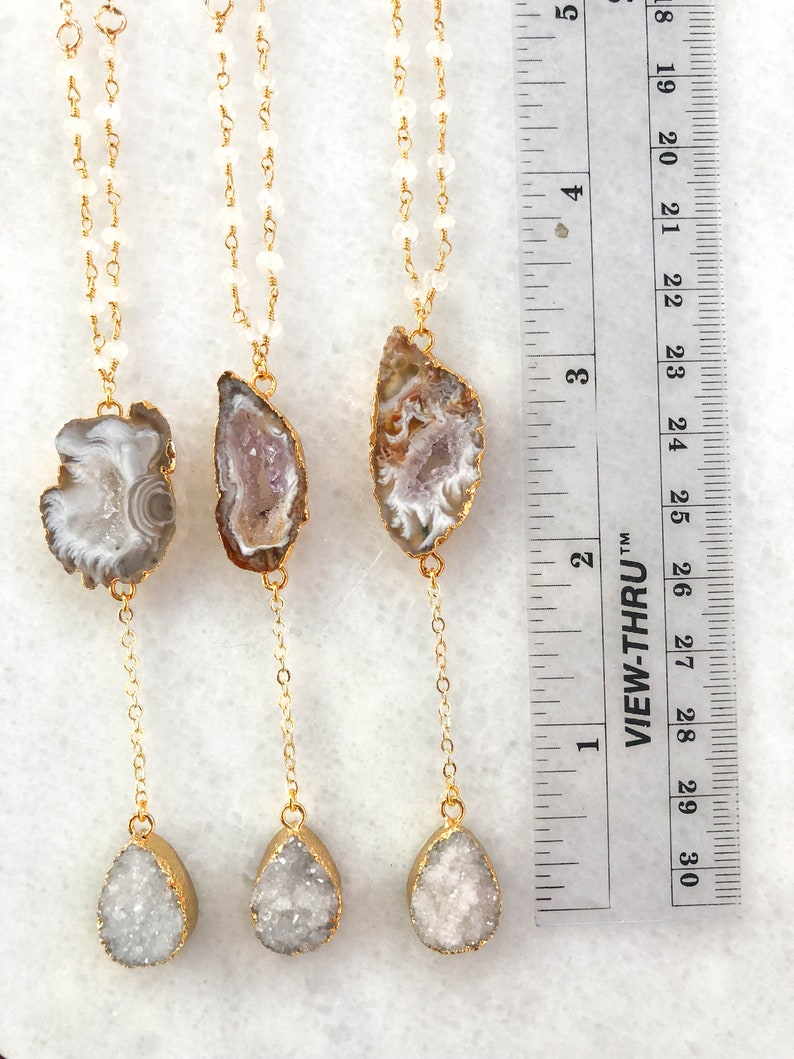 gemstone necklace Moonstone and Druzy Lariat dainty necklace valentines gift delicate jewelry   galentine