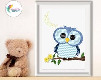 Blue Owl Nursery Print, Owl Print, Boys Bedroom Print, Boys Nursery Print, Blue Nursery Print, Baby Boys Print, Forest Animals, Blue Print