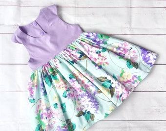 Girls dress, Girls tea party dress, girls floral dress, Spring Fling Girls Dress, purple, floral, aqua, spring dress, summer dress