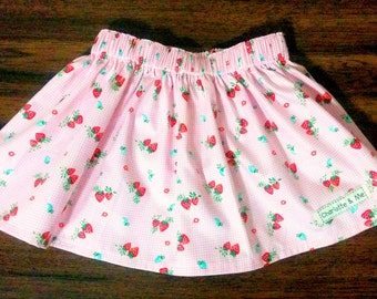Girls skirt, Strawberry fields girls gathered waist skirt, Pink and white checks, fruit, strawberry