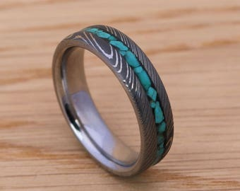Stainless Steel Damascus Wedding Ring Band With Crushed Turquise Stone Inlay Handmade in Scotland
