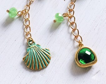 MERMAID DREAM charm, Green and Gold charm for Midori, Traveler's Notebook Charm, Journal Charm, Travel charm