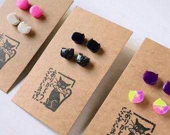 SET of 2 pair of CAT stud earrings, cat jewelry, cat lovers, fantasy, unicorn colors, kawaii, cute, anime girl, cosplay, gothic lolita