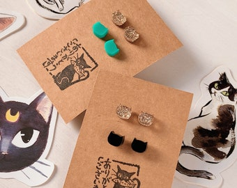 SET of 2 pair of CAT stud earrings, mint, black, gold, cat jewelry, cat lovers, fantasy, kawaii, cute, anime girl, cosplay, gothic lolita