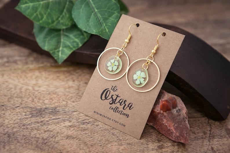 SAKURA flower earrings gold necklace resin earrings pressed image 0