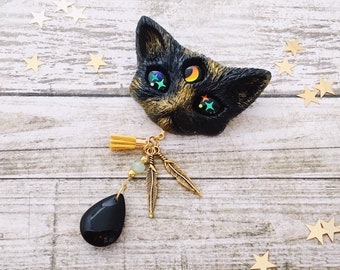 Witch Black Cat Brooch with iridescent eyes and black crystal tear, handmade with resin and mica powder, gift box and cotton bag included