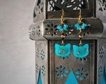 BLACK CAT ALCHEMY, rose gold earrings, black cat paw, alchemy earrings, resin earrings, resin jewelry, dark, witch jewelry, strega, catlover