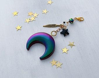 BLACK MOON charm, Dark Moon Halloween, Midori charm, Traveler's Notebook Charm, Journal Charm, Dark Moon charm, Travel charm