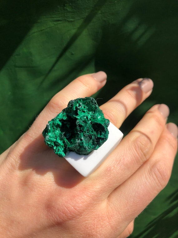 Ready to Ship Natural Raw Deep Green Malachite Ring Large Rough Malachite Crystal Concrete Jewelry Cocktail Modern Contemporary Ring