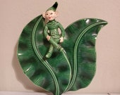 Vintage 1950s Retro Pixe Elf Sprite Green Planter - Tropical Banana Leaf - Wall Pocket Vase - 8 quot