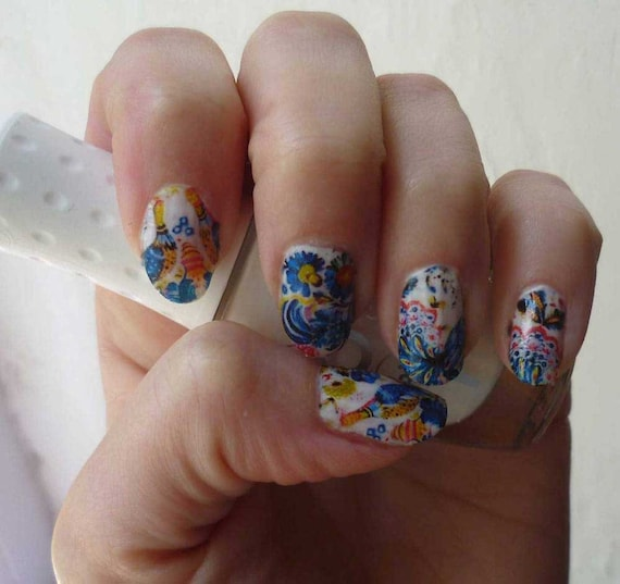 Nails Nail Art Russian Style Flowers Immediates Waterslide Etsy