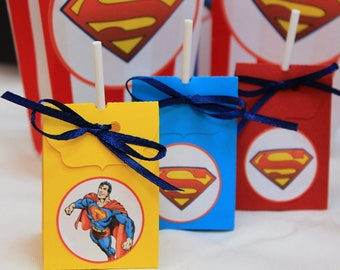 set of 10 door Lollipop lollipop cover superman theme to hold the lollipop like kids party gifts