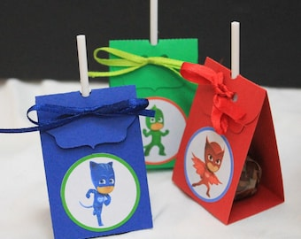 set of 10 themed cover pjmasks superpigiamini lollipop lollipop holder to hold the lollipop like kids party gifts