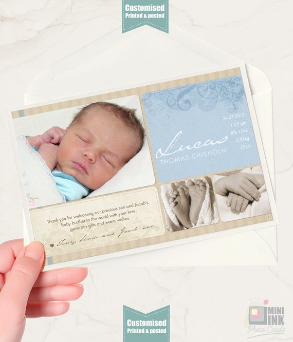 Baby Thank You Cards Customised Baby Boy Thank You Card Photo Etsy