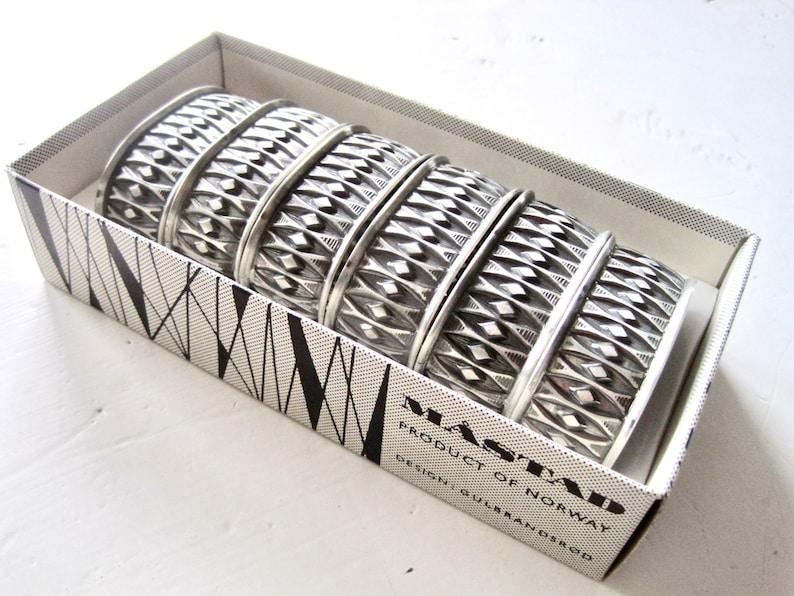 Vintage Norwegian Pewter Design Design John Gulbrandsbr\u00f8d Set of Six M\u00c5STAD Pewter Napkin Holders