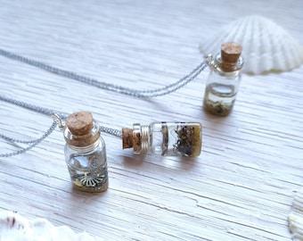 Pendant small silver souvenir vial