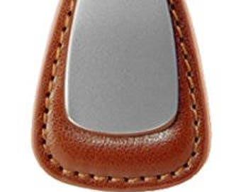 Metal Promotional Keychain & Keyring - Brown Leather Teardrop