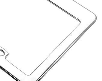 Blank Flat License Plate Frame with Silver Metal Frame - 2 Hole