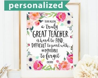 Teacher Gifts, A truly great teacher is hard to find, Office Decor, Office Gift, Going Away Retirement Gift, Personalized, Custom Name Print