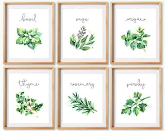 Exceptionnel Herb Collection, Herb Set Of 6, Watercolor Illustration, Herbs Kitchen  Decor, Kitchen Decor, Herb Sets, Kitchen Decor, Natural Kitchen Art