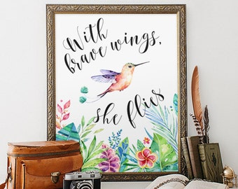 Nursery Decor, With Brave Wings She Flies, Tropical Print, Quote Print, Watercolor Nursery Art, Colorful Wall Art, Kidds Room Decor, Prints