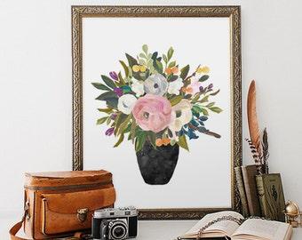 Floral Painting Print, Bouquet, Watercolor Decor, Wall Art, Canvas Pictures, Watercolor Flowers, Still Life Art Print, Floral Painting Decor