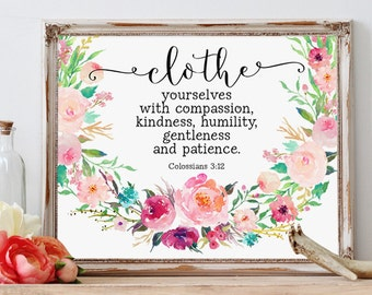 Bible Verse Quote, Clothe yourselves with compassion, Colossians Printable, Colossians 3:12, Scripture Prints, Christian Art, Watercolor