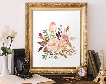 Bouquet, Posies, Flower Posy, Watercolor Print, Wall Decor, Canvas Pictures, Flowers, Canvas Wall Art, Artwork, Floral Decor, Printable Art