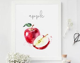 Food Painting, Apple, Kitchen Decor, Watercolor Print, Restaurant Decor, Kitchen Wall Art, Cook Printable, Fruits Printable, Veggies