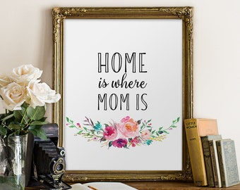 Mother's Gift, Home is Where Mom Is, Printable Decor, Floral Decor, Last Minute Gift, Housewarming printable, Home Wall Decor, Watercolor