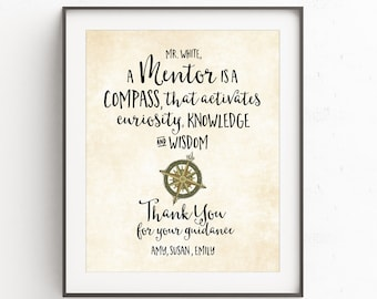 Mens Gift A Mentor Is Compass That Activates Curiosity Key Ring Tutor Thank You Personalized Custom Quote