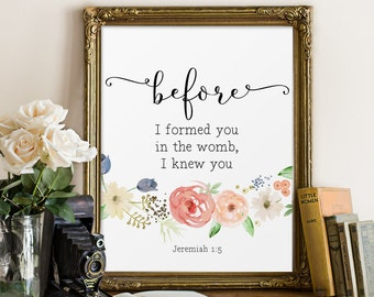 Scripture Printable, Before I formed you in the womb, Christian Art, Nursery Bible Verse, Wall Decor, Jeremiah 1:5, Watercolor, Quote Prints