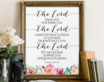 Scripture Printable, The Lord Bless You and Keep You, Numbers 6:24-26, Christian Quote, Biblical Wall Art, Printable Bible Verse, Scripture