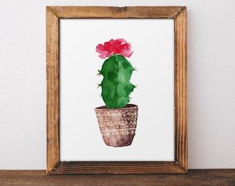 Cactus Wall Art, Botanical Print, Tropical Wall Art, Cactus Poster, Watercolor Cactus Art, Cactus Wall Decor, Nursery Decor, Kidds Room Art