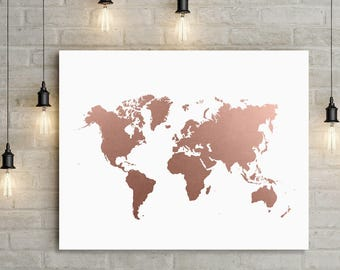 world map rose gold print office decor world map art travel map large map gift travel wall art wall decor home decor faux foil