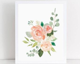 Cream And Peaches, Bouquet, Nursery Decor, Nursery Wall Art, Wall Decor, Floral  Wall Art, Girl Wall Art, Artwork, Nursery Prints, Nursery