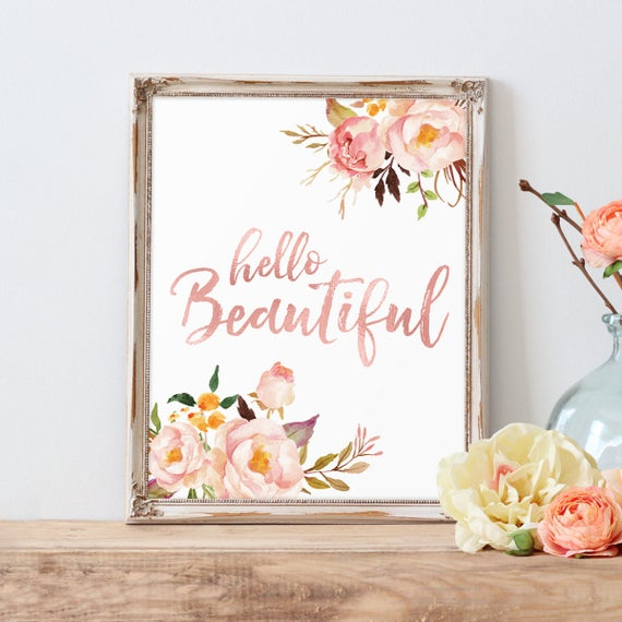 Nursery Ideas And Décor To Inspire You: Rose Gold Letter Print Hello Beautiful Nursery Decor Rose
