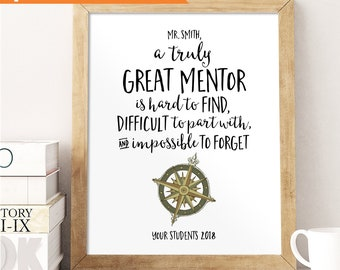 Mentor Gift, A truly great mentor is hard to find, Compass Key Ring, Mens Gift, Tutor Thank You Gift, Personalized, Custom Quote Print