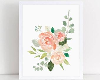 Cream And Peaches, Bouquet, Nursery Decor, Nursery Wall Art, Wall Decor,