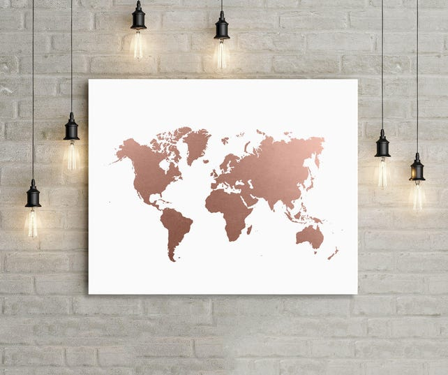 World Map Rose Gold Print Office Decor World Map Art Travel | Etsy