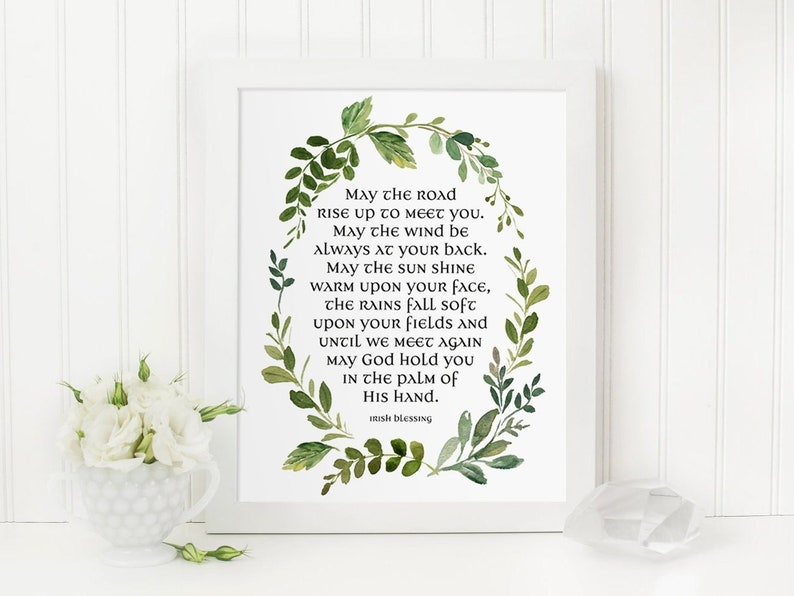 photo relating to Printable Irish Blessing named Irish Blessing Print, Could possibly the highway increase towards meet up with oneself, Watercolor Floral Decor, Marriage ceremony Print, Printable Decor, Inspirational Print, Waqll Artwork