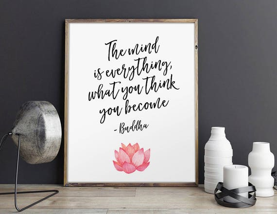 Buddha quote what you think you become watercolor floral etsy image 0 mightylinksfo