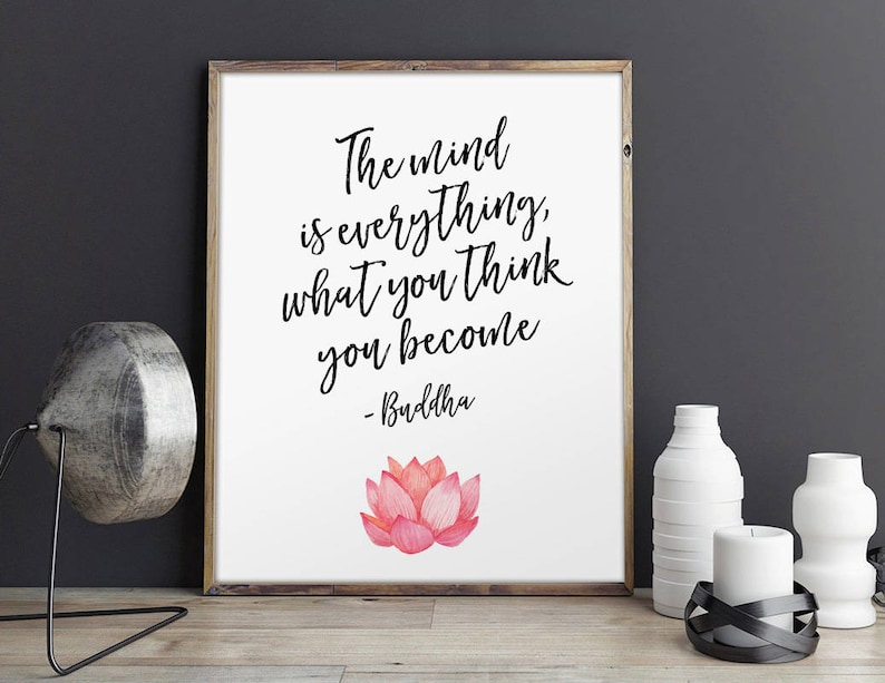 Buddha Quote What You Think You Become Watercolor Floral Etsy