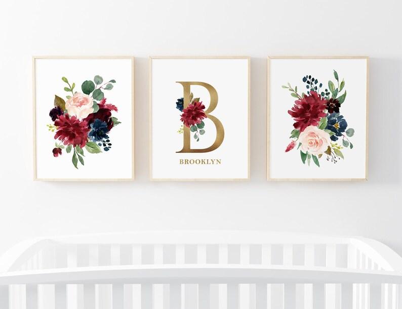 Burgundy Navy Gold Set Of 3 Floral Prints Custom Name  ba2679a9e