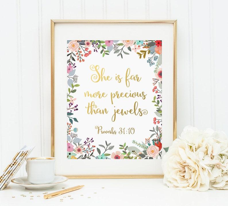 Gold Letter Print, She is far more precious than jewels, Christian Art,  Scripture Decor, Bible Verse Print, Proverbs 31:10, Christian Print