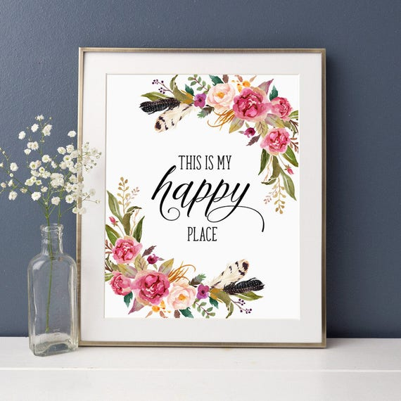 Floral Positive Motivational Quotes: Inspirational Quote This Is My Happy Place Floral Office