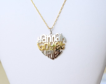 Customized Monogram Heart Pendant Silver Name Pendant   Etsy