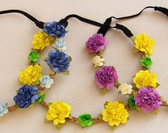Boho Flower Headband Baby - Flower Headband Toddler, Baby Floral Headband, Headband Crown, Toddler Girl Headbands, Flower Crowns