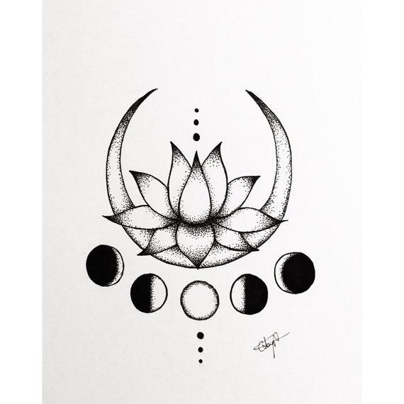 Lotus Yoga Meditation Crescent Moon Drawing Illustration Etsy